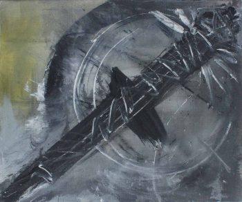 Ježíšovo-banjo,-akryl-a-uhel-na-plátně,-2010,-110x90cm